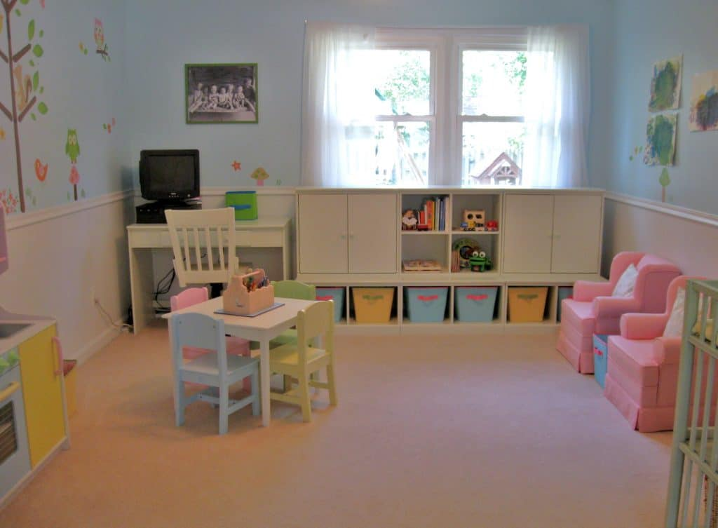 ... our home to a bright and cheery playroom that is kid and adult friendly ...