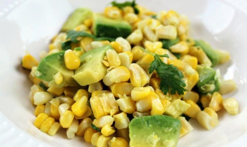 corn, avacado & cilantro salad
