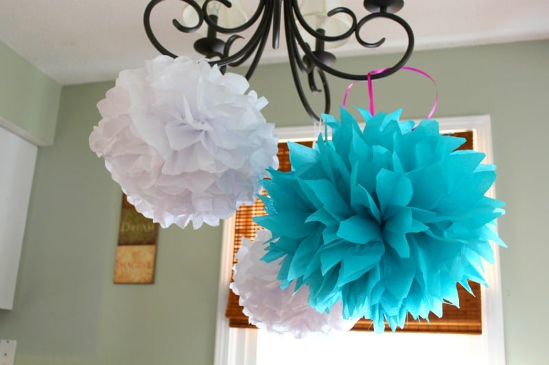 how to hang tissue paper pom poms Diy tissue paper pom pom and fan backdrop  they were taken on my phone at night while we put up the tissue paper pom poms and tissue hanging fans, so please .