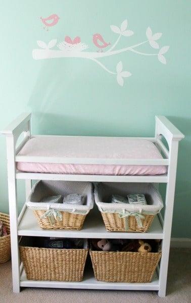 Changing Table Basket storage Nursery ideas