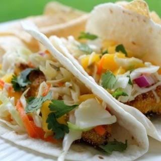 Fish Tacos With Jalapeno Mango Slaw