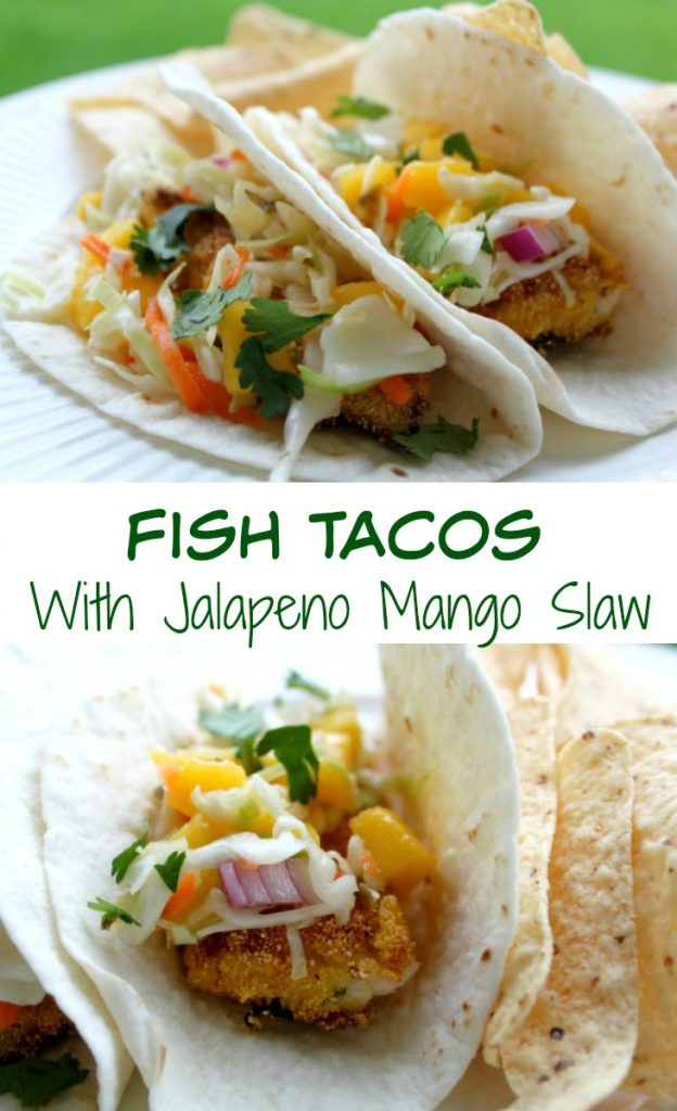 Fish Tacos with Jalapeño Mango Slaw