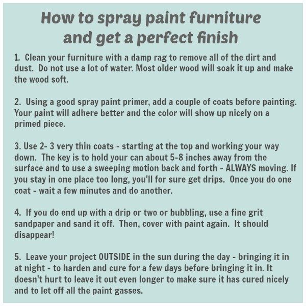 how to spray paint furniture and get a perfect finish every time. Black Bedroom Furniture Sets. Home Design Ideas