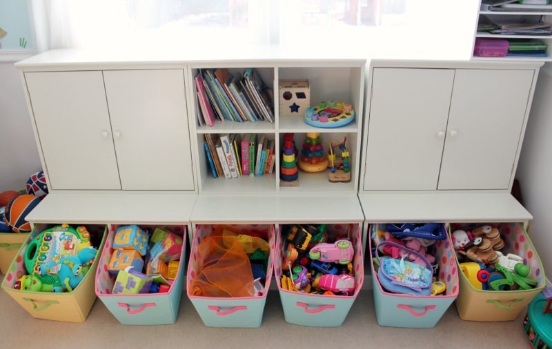 An organizational toy storage unit is so helpful!