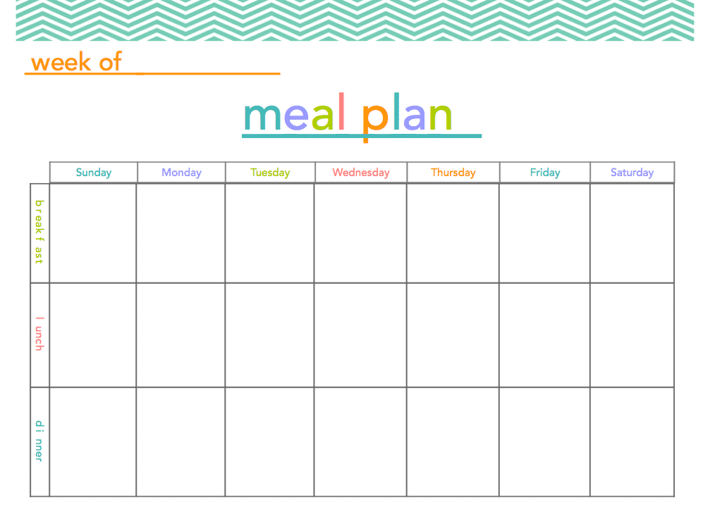It's just a picture of Handy Free Printable Meal Plan Template