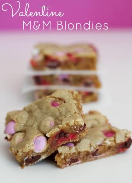 Valentine M&M's Blondies are the perfect Valentine's Day treat!