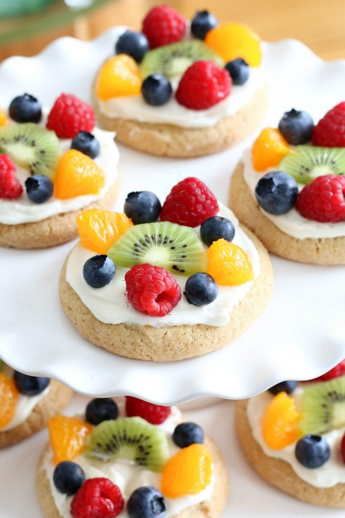 fruit pizza cookies on a plate