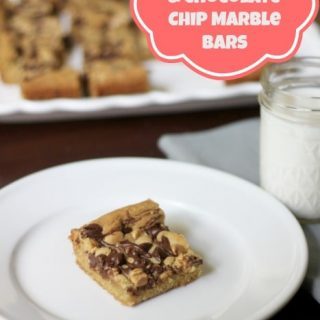 Peanut Butter & Chocolate Chip Marble Bars