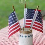 DIY Labor Day Mason Jar and Chalk Paint Picnic Centerpiece