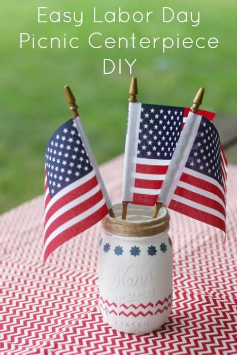 Easy DIY Labor Day Centerpiece with mason jars and chalk paint!