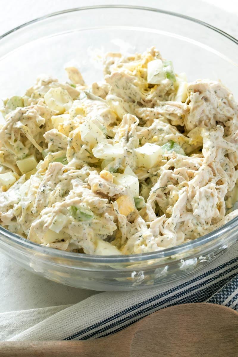Old Fashioned Chicken Salad in a glass bowl