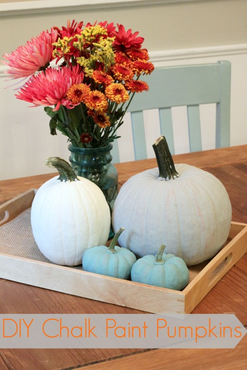 DIY Chalk Painted Pumpkins are easy and dress up your home for Fall!