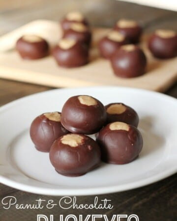 These no-bake Peanut Butter & Chocolate Buckeyes are a must-make this holiday season!