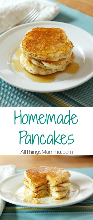 These delicious, light and fluffy homemade pancakes made from scratch are easy to make and are packed full of flavor! All mixed in one bowl, you won't have several dishes to clean up after either!