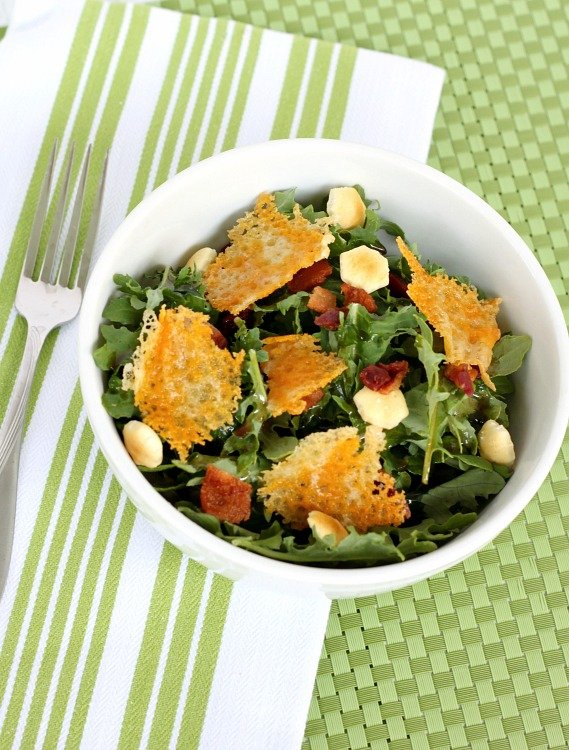 This Kale Salad with bacon and cheddar cheese crisps is good for you and delicious!