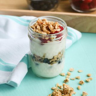 Choose to eat better this summer and make healthy snacks for your family like this Fresh Berry and Coconut Granola Yogurt Parfait!