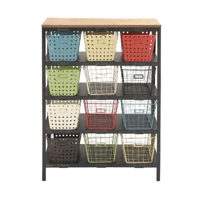Woodland-Imports-Sturdy-Metal-Wood-Storage-Rack-56553-2