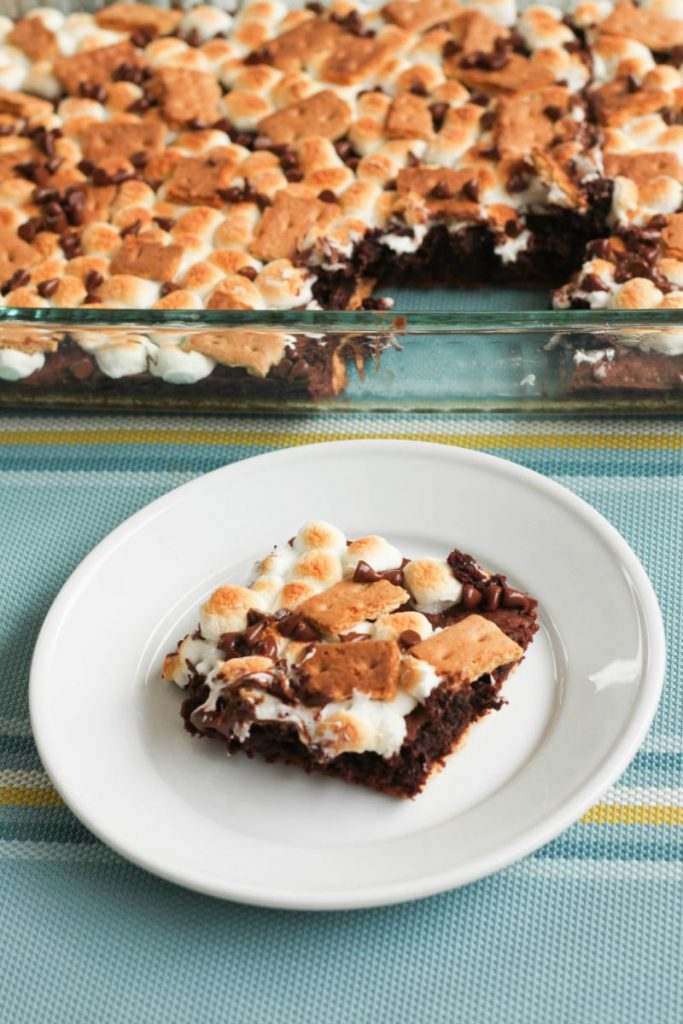 Fudgey brownies, graham crackers, marshmallows, and chocolate chips (inside and out) make this rich dessert the perfect alternative to traditional campfire S'mores!