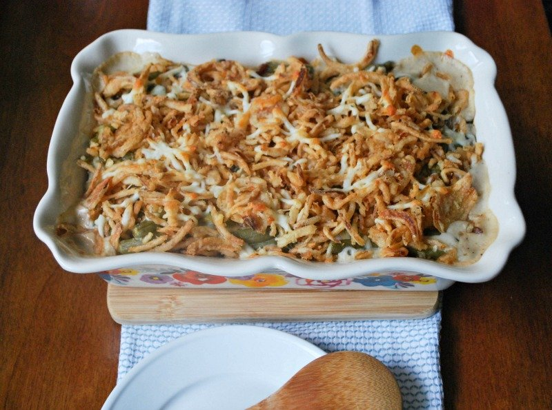 Cheesy Mushroom and Onion Green Bean Casserole