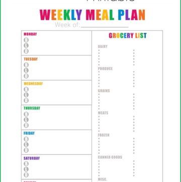 FREE Weekly Meal Plan Printable