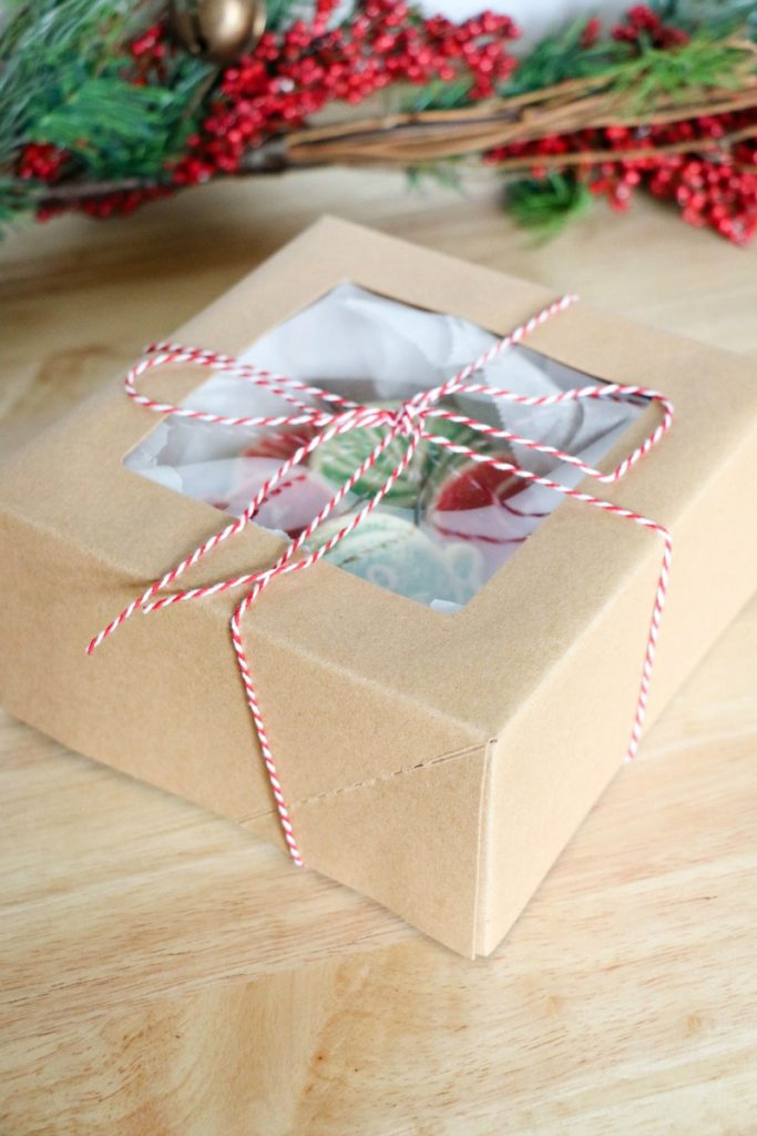 Pack a pretty box that can be picked up from any craft or grocery store with cookies you've baked at home or even cookies you've bought at the bakery.