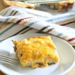 Overnight Breakfast Casserole- the easiest make-ahead casserole loaded with sausage, potatoes, cheese and eggs!