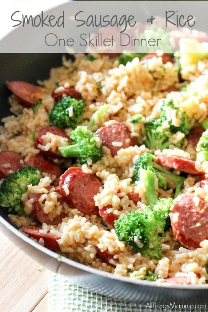 Smoked Sausage & Rice One Skillet Dinner