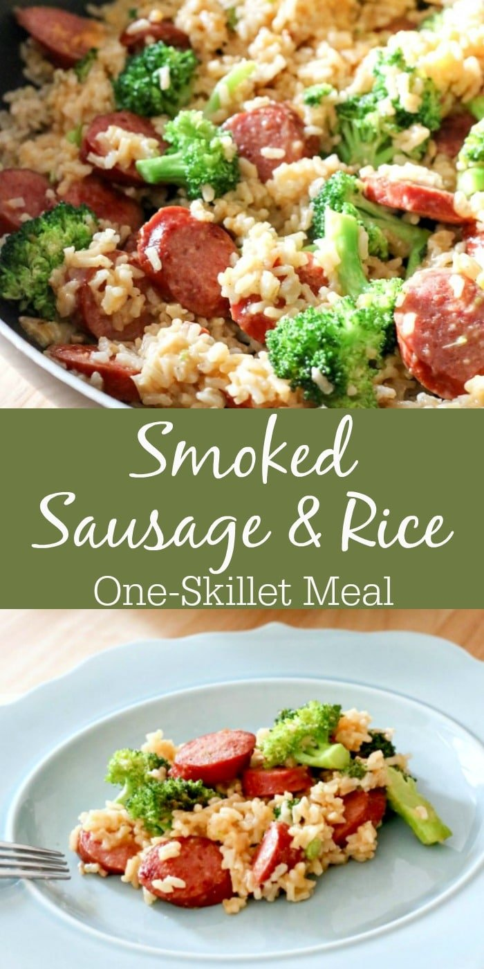 This quick & easy Smoked Sausage & Rice One Skillet Meal Recipe can be made in under 30 minutes and promises to be a hit in your household!