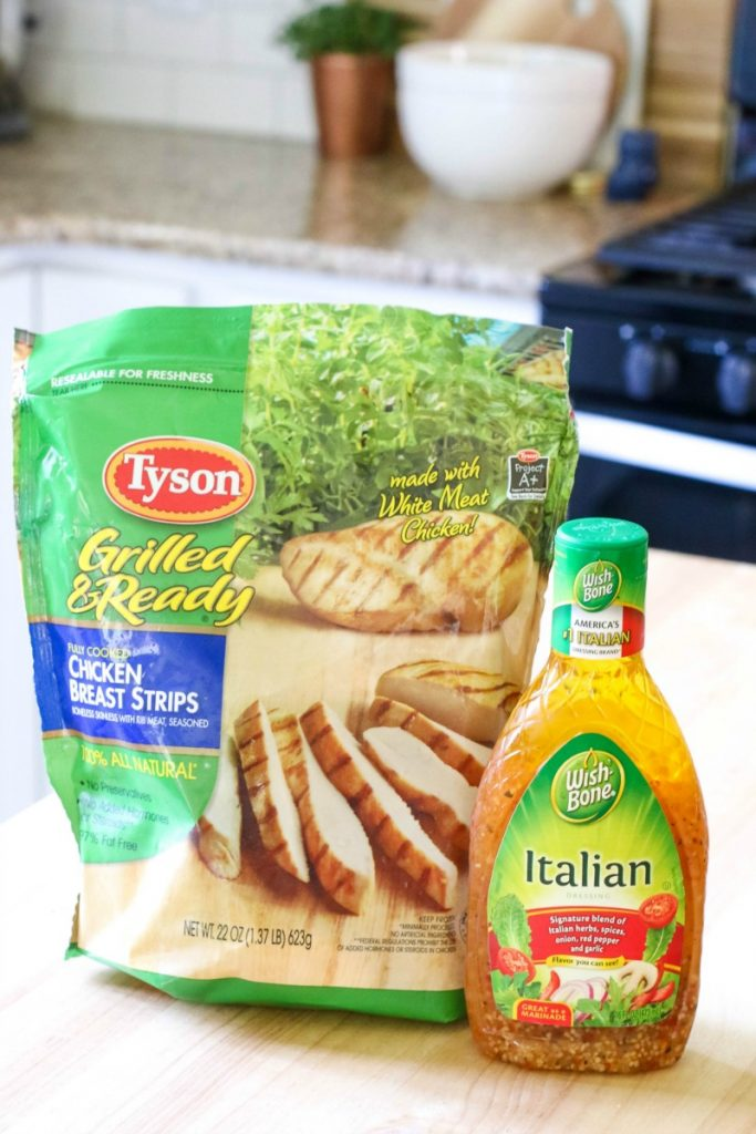 Tyson Grilled and Ready Chicken Breast Strips and Wish Bone Dressing are a hit together!