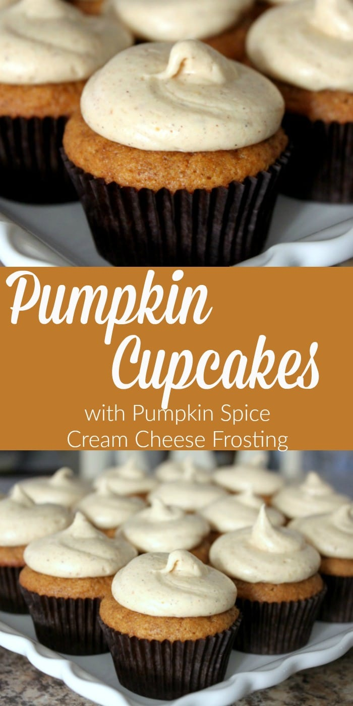 Pumpkin Cupcakes with Pumpkin Spice Cream Cheese Frosting ...