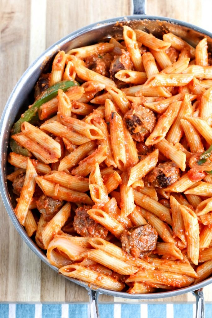 For under $10 and 30 minutes, this One-Skillet Creamy Tomato Italian Sausage Pasta is a favorite in our home!