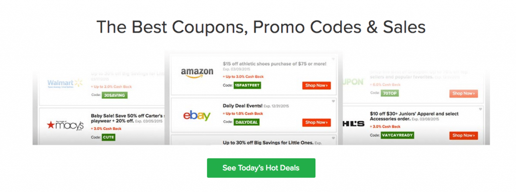 Ebates has all the best coupons, promos code and sales all listed right on their site for you.