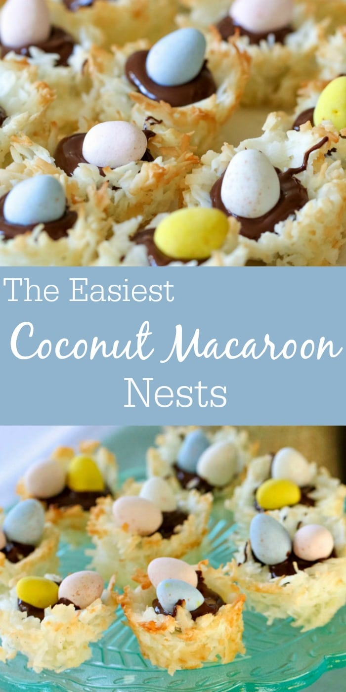 This Coconut Macaroon Recipe is turned into coconut macaroon cookie nests and are filled with dark chocolate and topped with Mini Cadbury Eggs for an adorable and tasty treat!