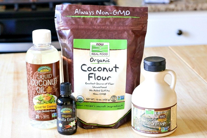 coconut flour, maple syrup, coconut oil, vanilla