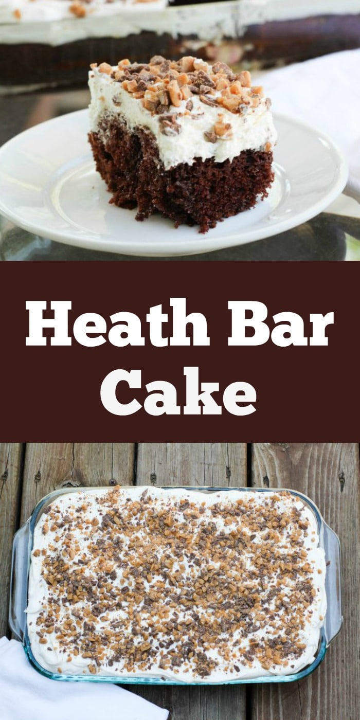 Heath bar cake and slice on white plate with text overlay.