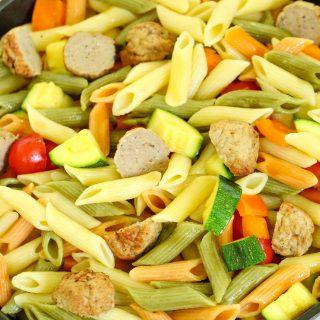 One Skillet Pasta Primavera with Meatballs