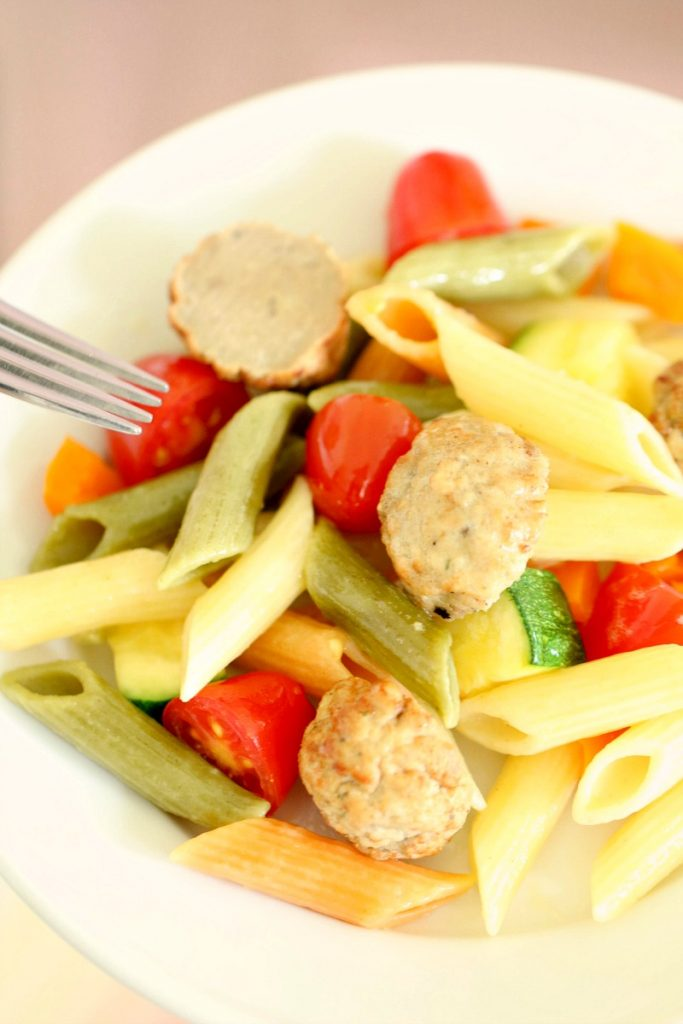 One Skillet Pasta Primavera with Meatballs