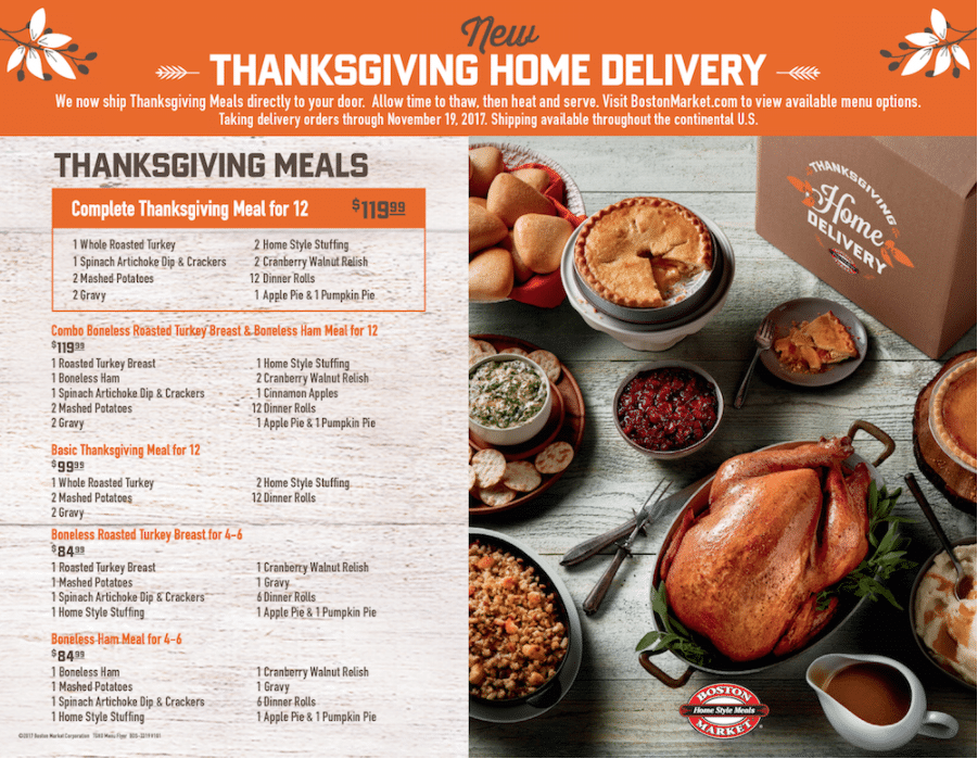 Boston Market Thanksgiving Home Delivery
