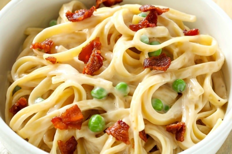 For a quick and easy dinner idea that tastes gourmet, try this Fettuccine Carbonara recipe! It's rich, creamy and ready in 30 minutes!  Your entire family will love it! #fettucinicarbonara #easyfettucinicarbonara #pasta #easydinner #bacon #allthingsmamma | allthingsmamma.com