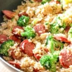Smoked Sausage & Rice Recipe! For a weeknight meal solution, this Smoked Sausage & Rice One Skillet Dinner Recipe is ready in under 30 minutes!