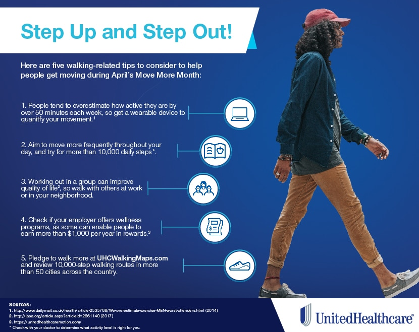 Step Up for Better Health - Walking Tips Infographic