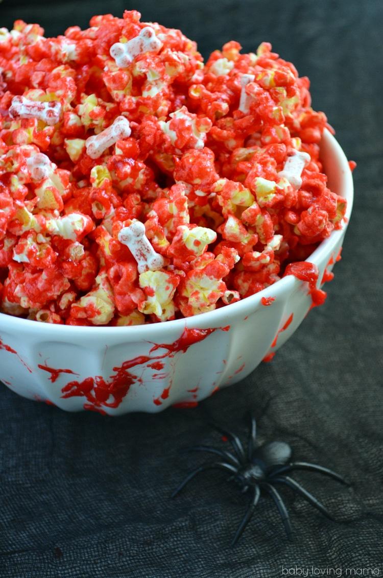 Easy Halloween Treats - Bloody Popcorn With Bones
