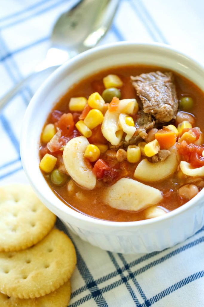 This Vegetable Soup recipe is the ultimate comfort food recipe and for good reason! It's quick, easy and full of flavor!  The recipe was passed down from my grandmother and is a family favorite! #instant pot #vegetablesoup #soup #recipe | allthingsmamma.com #allthingsmamma