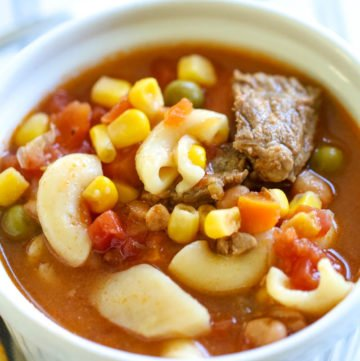 This Vegetable Soup recipe is the ultimate comfort food recipe and for good reason! It's quick, easy and full of flavor!  The recipe was passed down from my grandmother and is a family favorite!