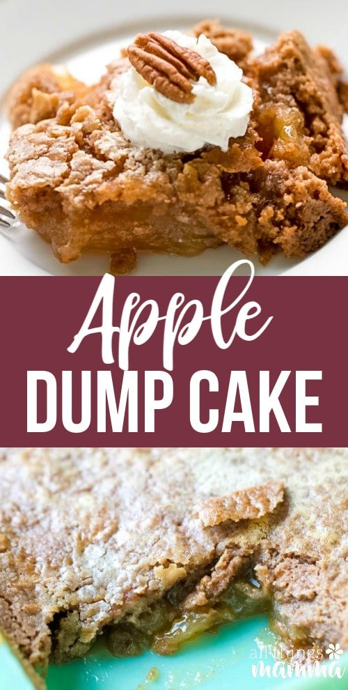 This apple dump cake is the easiest dump cake recipe, with three basic ingredients. If you are looking for an easy fall dessert, this recipe is just that. Tender bits of apple in every bite covered with a spiced cake that is delicious, down to the last bite. An easy apple dessert you can whip up any time of day.#apple #dessert #dumpcake #falldessert #appledessert #easydesserts| allthingsmamma.com