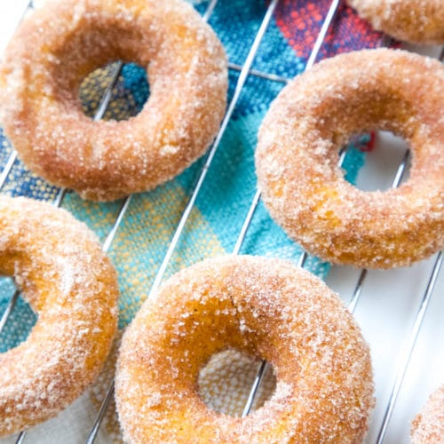 These Baked Pumpkin Spice Donuts, topped with cinnamon-sugar, are the ultimate easy fall dessert!#pumpkin #dessert #donuts #falldessert   allthingsmamma.com