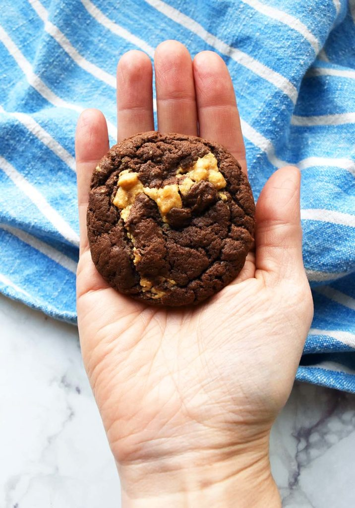 Peanut butter and chocolate cake mix cookies held in an outstretched hand looking delicious and ready to eat.