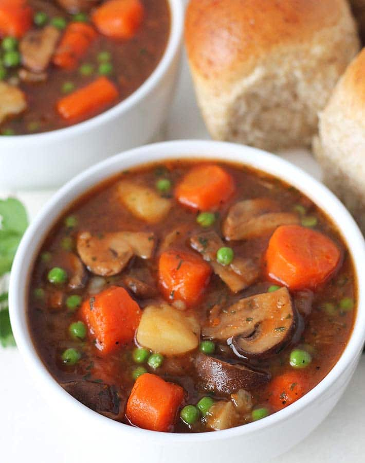 mushroom stew in a bowl