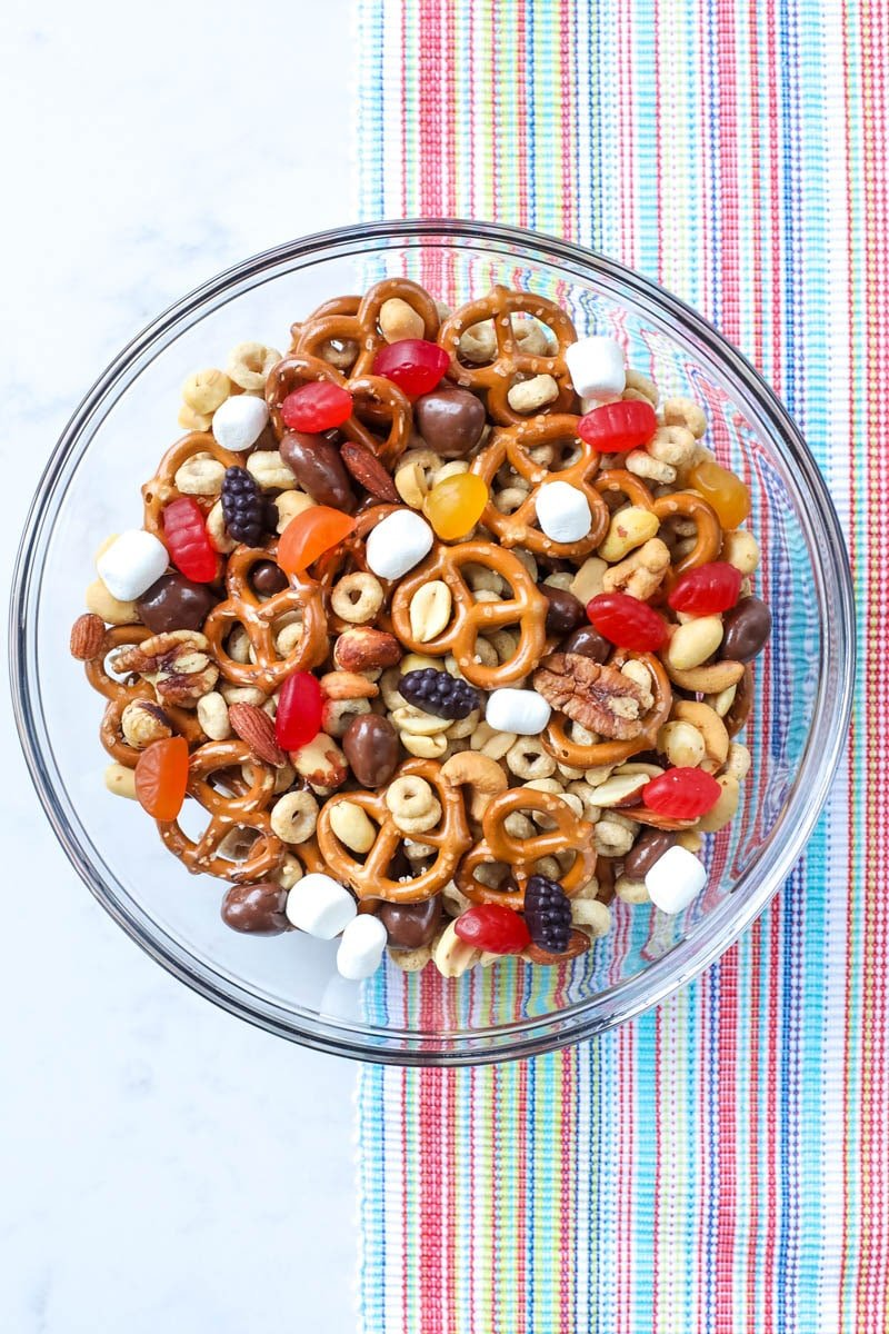 trail mix in a bowl with welch's fruit snacks