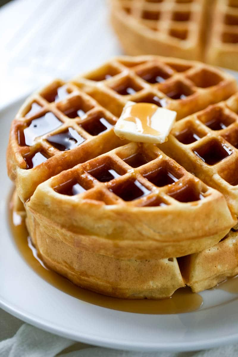 waffle recipe on a plate with butter and syrup